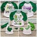 Bebé girls boy St. Martin's día Tréboles del corazón impresión de algodón boutique de la parte superior de La Camiseta ropa del cabrito verde primavera desgaste largo de la manga