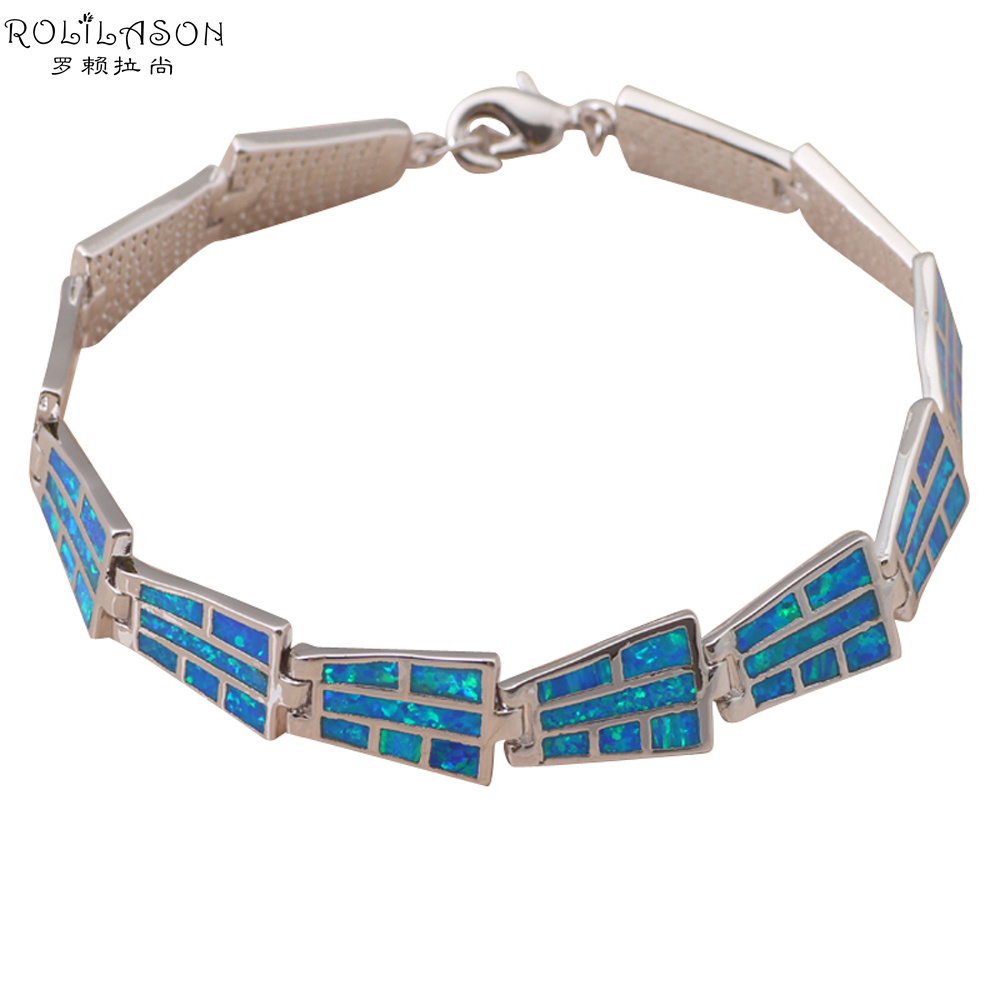 18 91g Bracelets Wholesale Retail Special Blue fire opal sterling Silver Stamped fashion jewelry party gifts