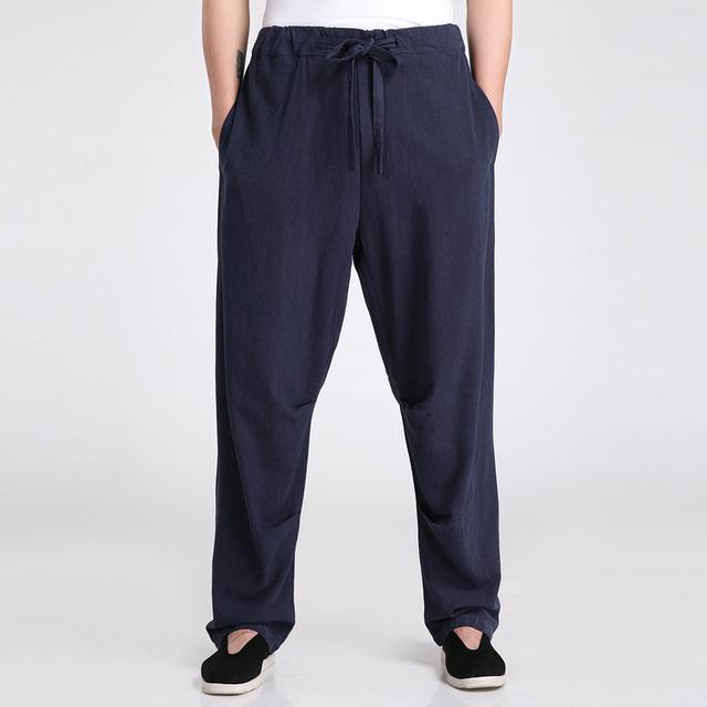 Nueva Llegada de Los Hombres Chinos de Kung Fu Pantalones de Alta Calidad de Algodón de Lino pantalones Casuales Mediados de Cintura Pantalones Tamaño Ml XL XXL XXXL 2601-3
