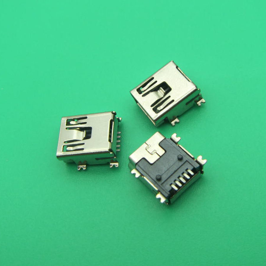 10pcs G34Y Mini USB 5pin Female Socket Connector 4foot For Tail Charging Mobile Phone
