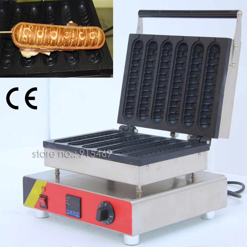 Free Shipping 6pcs Commercial Nonstick 110v 220v Electric Digital 22cm Lolly Waffle Dog on A Stick Machine Maker Iron Baker