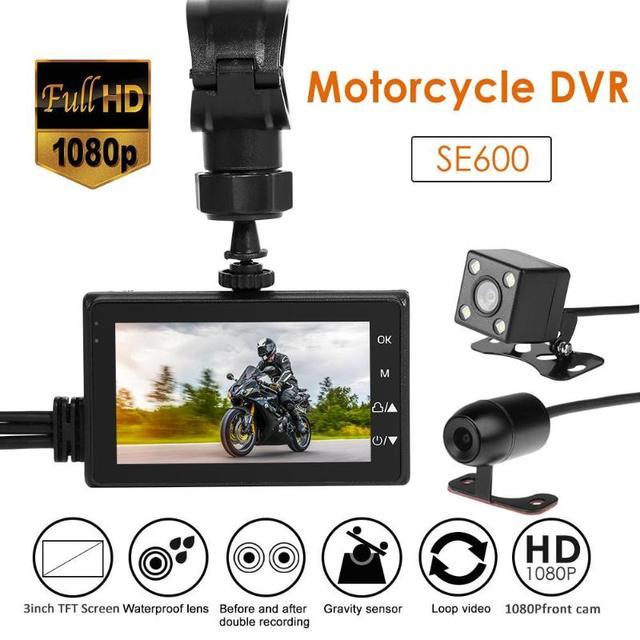 "VODOOL SE600 motocicleta DVR Dashcam 3,0 ""Vista frontal trasera Cámara Dual 1080P HD g-sensor de conducción para motocicleta Video grabadora cámara de salpicadero"