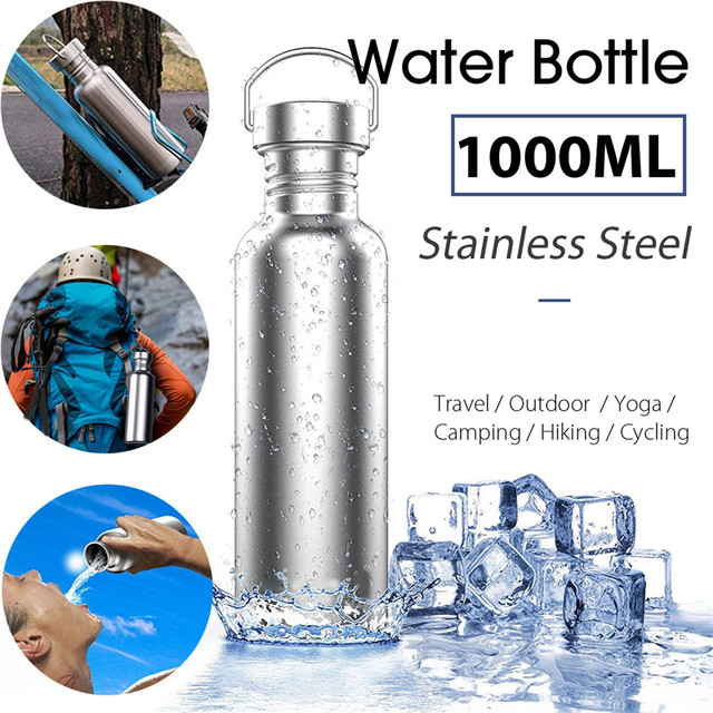 7d7aacf2e86 Stainless Steel Drinking Water Bottle Wide Mouth Drink Bottles Kettle  Leak-proof Outdoor Travel Sports Riding Yoga Cycling BPA