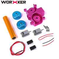 Worker Super E Parts Set for Nerf HyperFire For Nerf Modulus Regulator Modification Replacement(Diamond Pattern) Pink + Blue