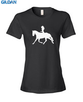 Base Shirt Fashion 2017 O Neck Short Sleeve Womens Cowgirl Riding Horse Tee Shirts