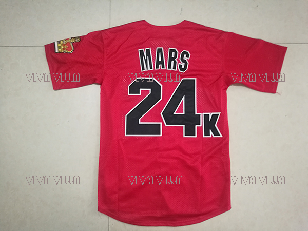 Bruno Mars 24K Baseball Jersey Hooligans BET Awards Jersey Stitched Baseball Shirt S-3XL Free Shipping