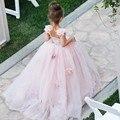 2017 Бальное платье Розовый Первое Причастие Платья Для Девочек Этаж Длина девушки цветка платья для свадьбы vestidos де primera comunion