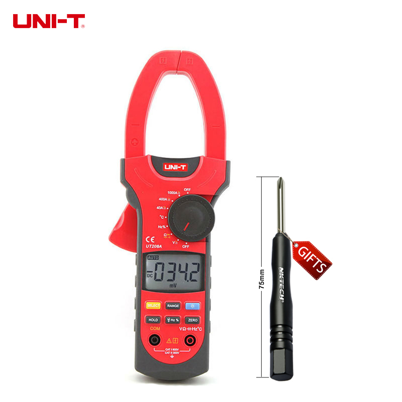 UNI-T UT208A Professional Auto/Manual Range Digital Clamp Multimeters w/ Capacitance Temperature Test uni t ut60b modern auto ranging data hold dmm digital multimeters w capacitance
