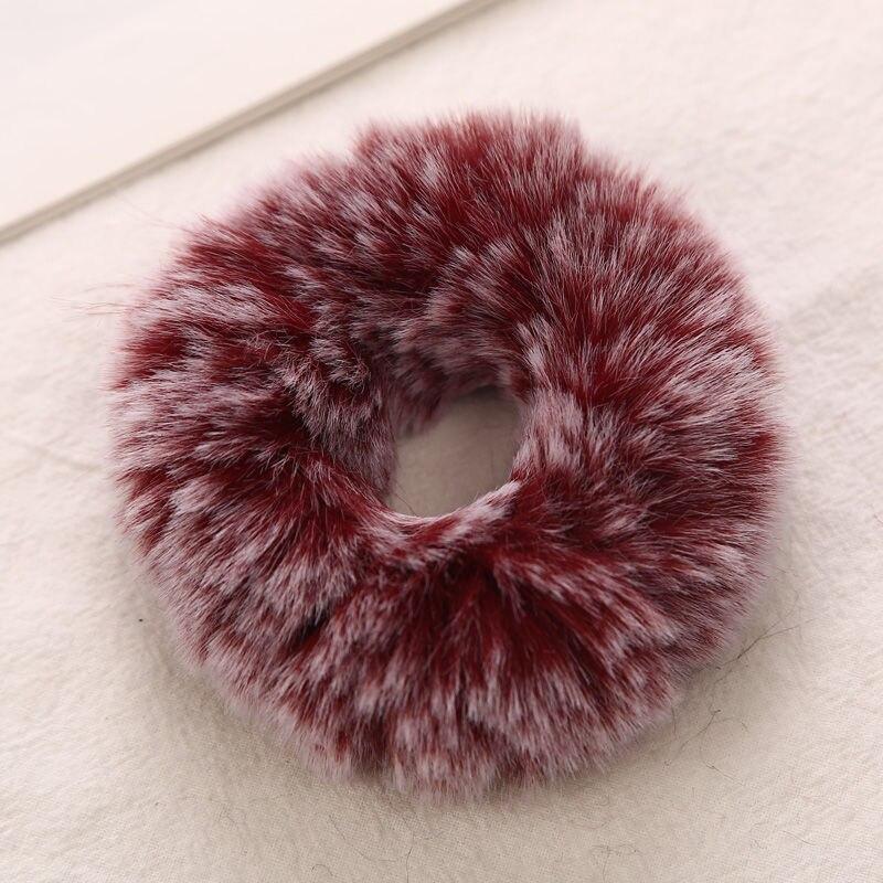 AIKELINA/Новинка; зимняя теплая мягкая резинка для волос из искусственного кроличьего меха для девочек и женщин; аксессуары для волос; Детская резинка; головной убор - Цвет: Wine Red