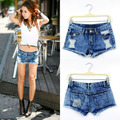 2015 Hot Spring And Summer  Blue Snowflake Hole Denim Shorts D019