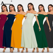 цены New Summer Elegant Women Long Dresses Slash Neck Backless Solid Female The Dress Robe Longue Femme Maxi Dress Vestido De Festa