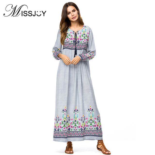 5d8653ef80c8ff MISSJOY Embroidery dress Women Autumn casual 2018 Long Sleeve boho chic  Loose Muslim New Fashion ladies islam abaya maxi dress