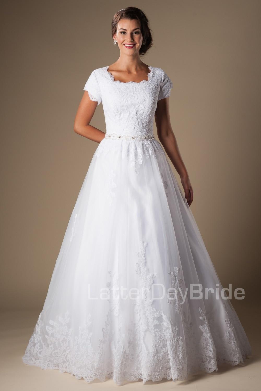 White lace appliques modest wedding dresses with cap for Modest lace wedding dresses