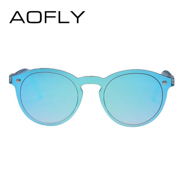 AOFLY Women Sunglasses Oval Fashion Female Men Retro Reflective Mirror Sunglasses Clear Candy Color Famous Brand Designer Oculos