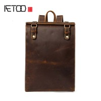 AETOO 2018 The latest men's first layer leather shoulder bag to simple style college wind backpack hot men's bag wholesale