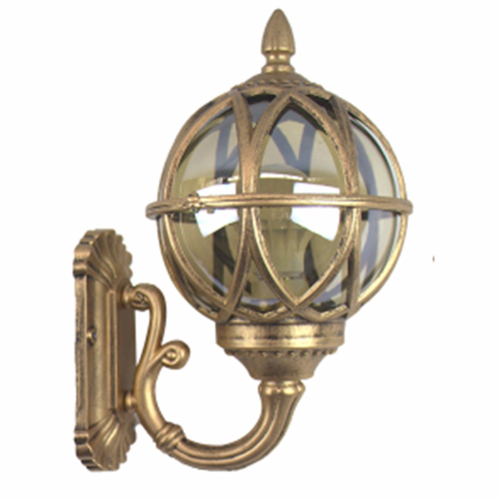 Retro European Glass Globe Garden Lamp Metal Lantern Wall Light Fixture for Staircase Balcony Villa Outdoor Waterproof
