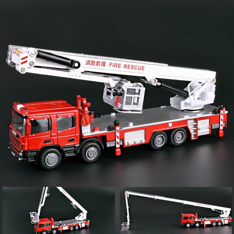 Kamion zjarri me motor zjarri Alloy 1:50 Shkallë 3 Seksione Kamionë Motorë Teleskopik Kamion Diecast Model Hobi Argëtim Lodra Lodra
