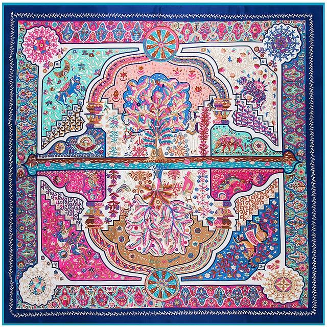0178210ff9795 US $8.17 47% OFF|2019 Luxury Brand Shawl 100% Twill Silk Scarf Floral  Reflection Square Scarves Print Kerchief Woman Headband Shawl Wraps  Hijab-in ...