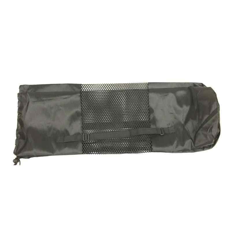 Contican Portable Yoga Pilates Mat Nylon Bag Carrier Mesh Center Adjustable Strap Carry Storage Rolling Type Vaccum Compressed Bags Black