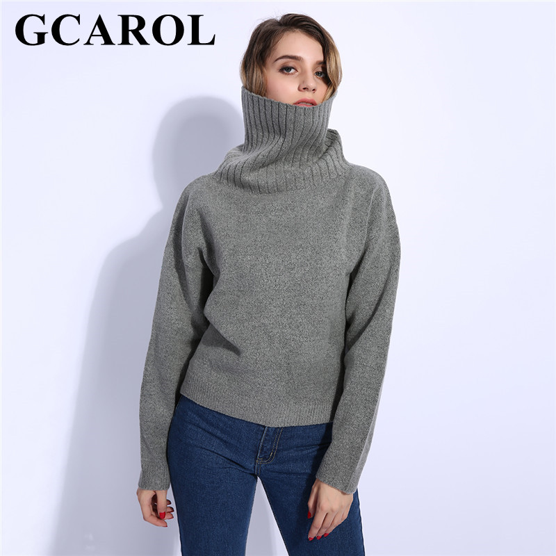 US $23.31 30% OFF|GCAROL Fall Winter Women Turtleneck Sweater 20% Wool High Quality Oversized Knit Jumper Soft Hand Pullover In 3 Colors|Pullovers|