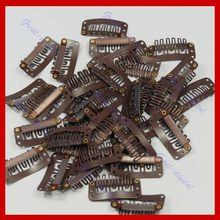 40PCS Beige/Brown/Black Color Hair Snap Clips for Extensions U Shape Weave Toupee Wig 6 teeth Clips Styling Tools 32mm(China)