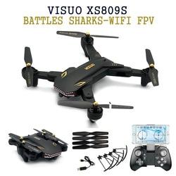Eachine VISUO XS809S BATALHAS TUBARÕES 720P WI-FI FPV Com A Câmera Grande Angular HD Dobrável RC Quadcopter RTF Helicóptero DO RC brinquedos