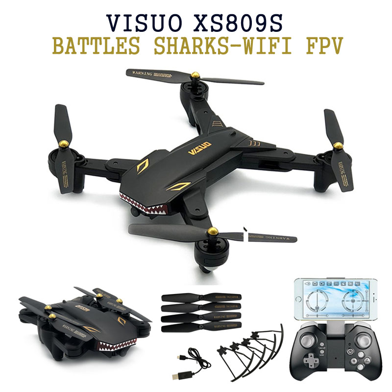 Eachine VISUO XS809S BATTLES SHARKS 720P WIFI FPV With Wide Angle HD Camera Foldable RC Quadcopter RTF  RC Helicopter ToysEachine VISUO XS809S BATTLES SHARKS 720P WIFI FPV With Wide Angle HD Camera Foldable RC Quadcopter RTF  RC Helicopter Toys