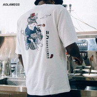 Aolamegs T Shirt Men Kimono Cat Printed T Shirts Harajuku Japanese Style Tops Tee Shirt Fashion