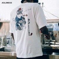 Aolamegs camiseta hombres kimono cat impreso camisetas harajuku estilo japonés tops t-shirt de moda casual de manga corta streetwear