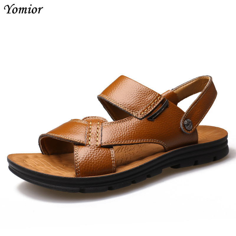 Yomior Brand 2018 Fashion Casual Genuine Cow Leather Summer Soft Male Sandals Shoes for Men Breathable Beach Walking Sandals
