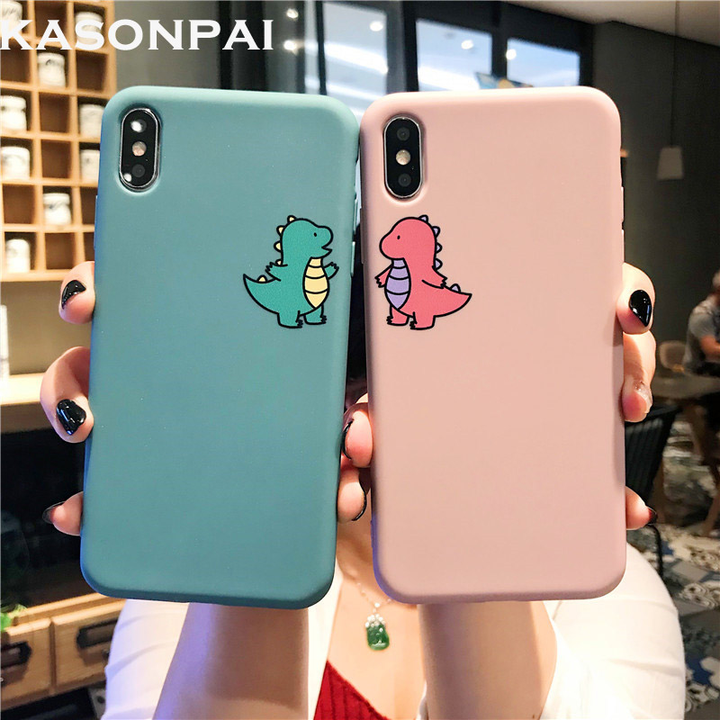 Cartoon <font><b>Dinosaur</b></font> Phone <font><b>Case</b></font> For <font><b>iphone</b></font> <font><b>7</b></font> 6 6S 8 Plus Cute Couple Dragon Soft Back <font><b>Case</b></font> For <font><b>iphone</b></font> 11 Pro Max X XR XS MAX Cover image