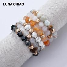 LUNA CHIAO, натуральный Амазонит, белый мраморный камень, граненый браслет из бисера, тянущийся сложенный браслет для женщин