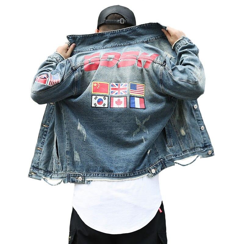 Automne haute rue Style hommes marque drapeaux nationaux du monde imprimer Denim veste manteaux Vintage effiloché trou vêtements d'extérieur décontractés