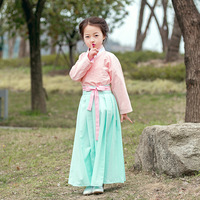Baby Girls Hanfu Clothing Suit Vintage Cotton Linen Dress Ancient Chinese Style Performance Clothes Children Cosplay Costume