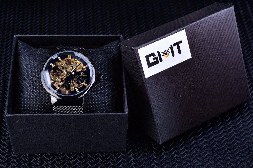 Forsining Fashion Luxury Thin Case Unisex Design Waterproof Mens Samll Dial Watches Top Brand Luxury Mechanical Skeleton Watches