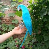 Large 45cm Blue Macaw Bird Model Foam Feathers Simulation Parrot Bird Handicraft Home Garden Decoration Gift