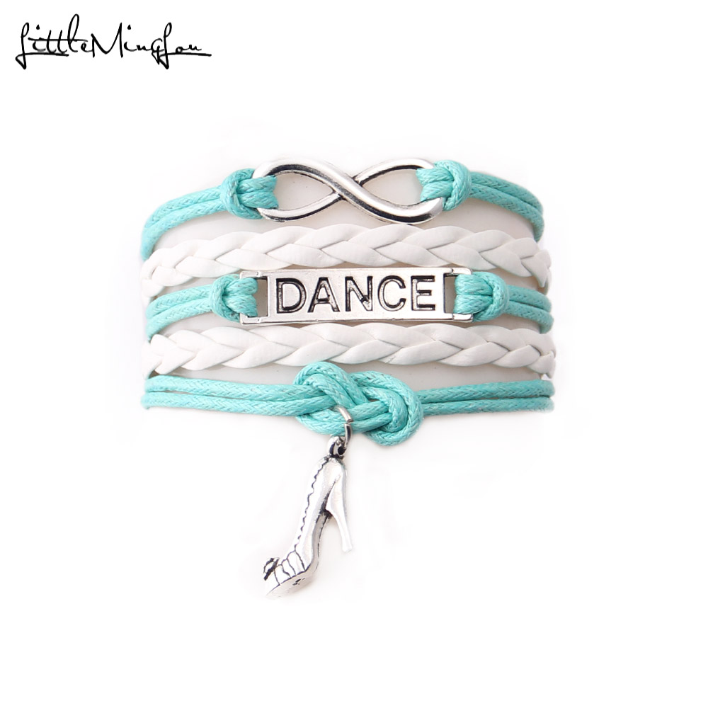 Little MingLou Infinity DANCE bracelet shose charm Rope handmade DANCER Bracelet for women Leather braid bracelets & bangles