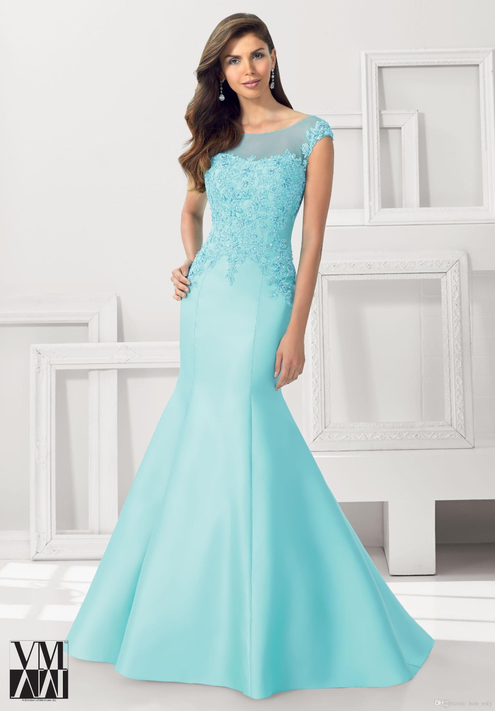 vestidos para la madre de la novia 2016 Mermaid Mother of The Bride Dresses Sky Blue Scoop Sleeveless Appliques V Back Long Gown-in Mother of the ...