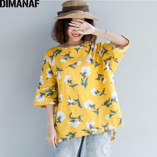 7dcbdadeab8 DIMANAF Women T-Shirt Summer 2018 Plus Size Cotton Basic Tops Print Floral  O-