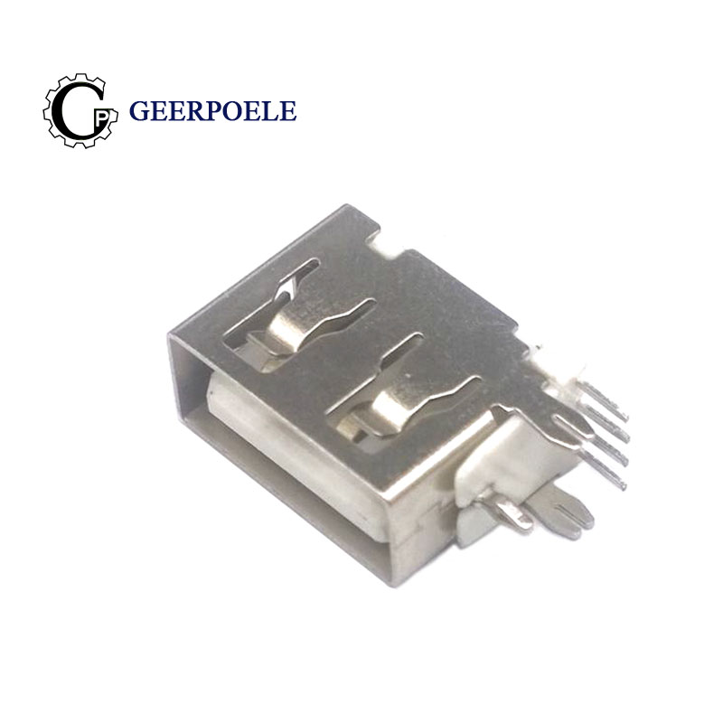 10 Pcs/Lot Type A Female Side Insert USB Female 4 Pin 180 Degree Flat Plug Socket Jack Connector Short Body Usb 2.0 Connector
