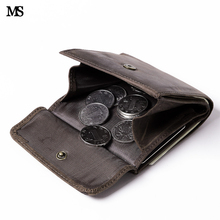 MS Retro Fashion Men Crazy Horse Real Leather Wallet Card Cash Holder ID Coin Wallet Random Colors Purse Free Shipping K836