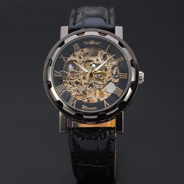 Leitoso Preto dos homens Clássicos Dial Esqueleto Esporte Exército Relógio de Pulso Mecânico de Couro Relojes Hombre DEC16