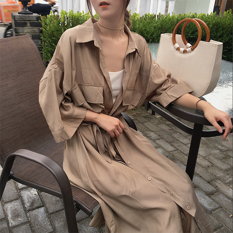 Korean 2019 shirt-style windbreaker woman solid color belt single breasted three quarter dress casual female   trench   coat