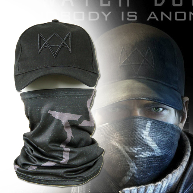 Watch Dogs Face MASK + CAP Hat Aiden Pearce Costume Cosplay Scarf Top Sale