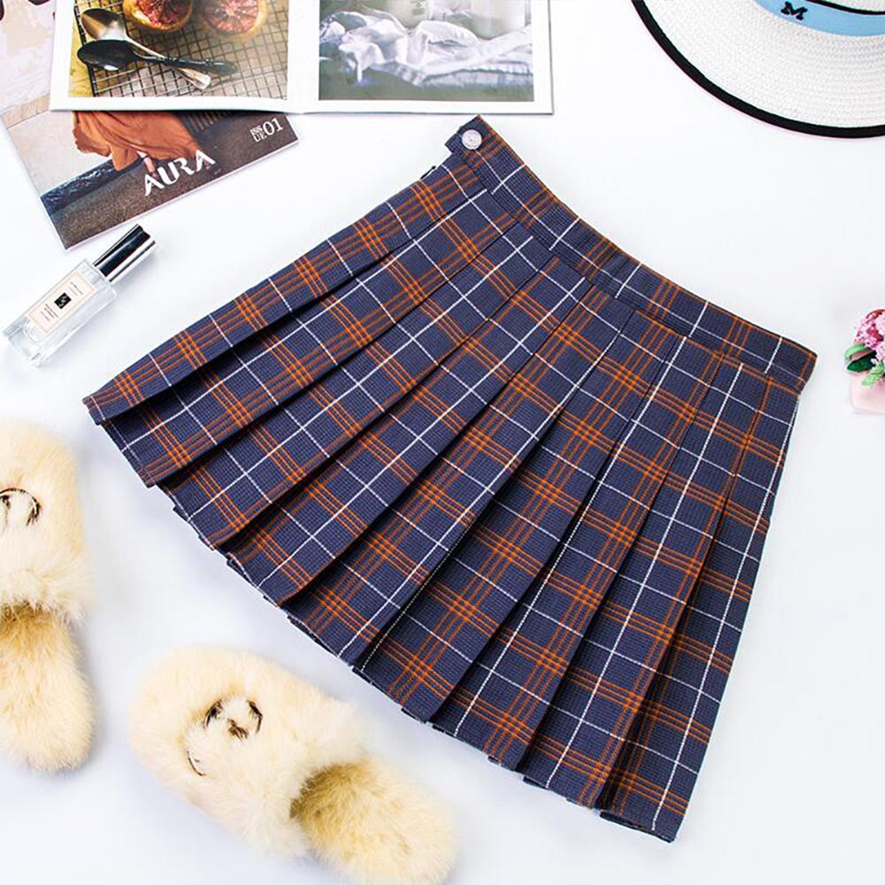 Plus Size Harajuku Short Skirt New Korean Plaid Skirt Women Zipper High Waist School Girl Pleated Plaid Skirt Sexy Mini Skirt 12