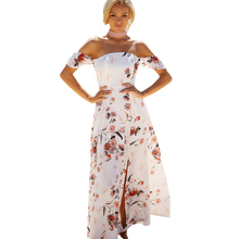 Short Sleeve Strapless White Dress Women Off Shoulder Bodycon Long Beach Dress Summer Floral Printed Stretchy Party Dresses 2017