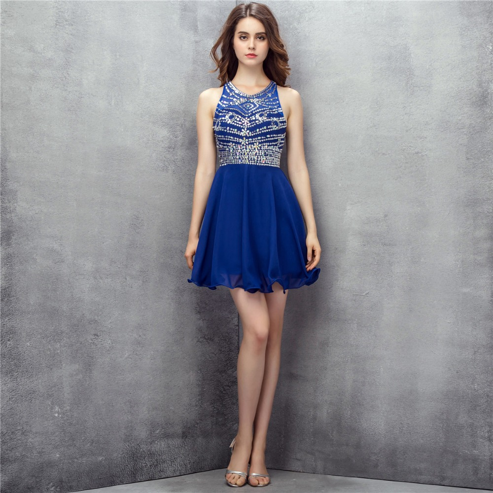 Mousseline de soie bleue courte retour robes paillettes perlées dos nu robes de soirée robes
