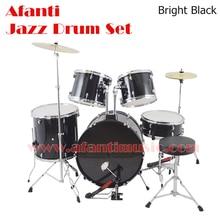 5 Drums 2 Crash Cymbals Black color Afanti Music Jazz Drum Set Drum kit AJDS 424