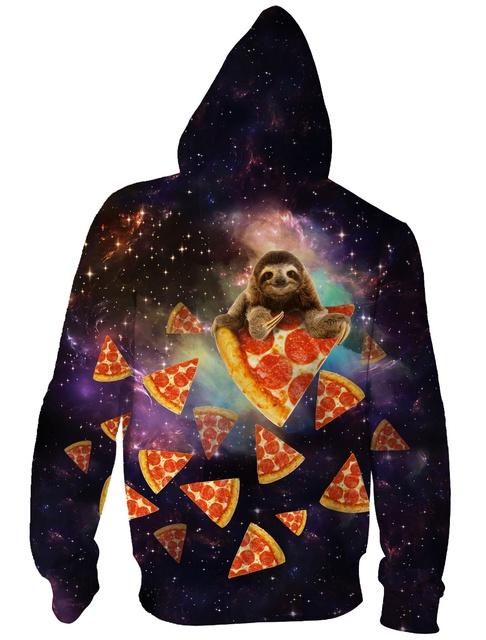 RAISEVERN Galaxy Stars Euro Size Sloth Pizza Men Hoodies Sweatshirts 3D Print Zipper Men Women Sweatshirts Cap Tops Men Hooded