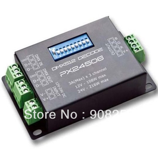 free shipping PX24506 DMX 512 Decoder Driver 9A DMX 512 Amplifier 12V 24V RGB LED Lights